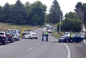 wo vehicle crash on SH36 near Hamurana. Photograph by Andrew Warner.