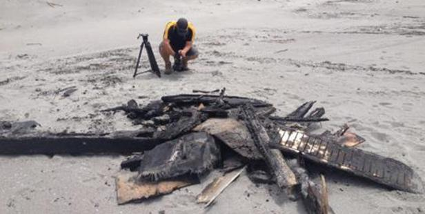 Wreckage from the blaze which engulfed a White Island tourist boat began to wash up on land on Tuesday with charred chunks of the boat found along Whakatane's beaches. Photo/George Novak