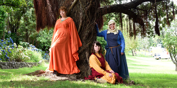 Isla Evans, 16, Lilian Goodliffe, 16, and Andria Goodliffe dressed in medieval garb ahead of this weekend's Medieval Faire at Tauranga Racecourse. Photo / George Novak