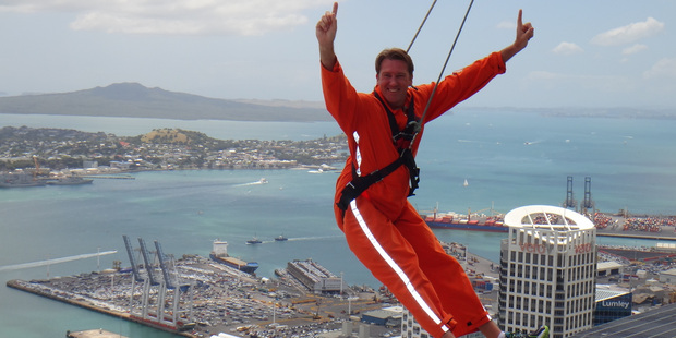 Aussie cricket legend Glenn McGrath hangs out on top the Sky Tower in Auckland. Photo / Supplied