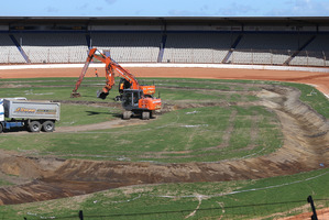 Work continues this week on turning ASB Baypark into a jet sprint course. Photo/John Borren