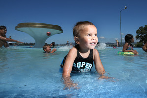 Mother-of-two Moana Mua said the price of sunscreen is shocking but it is a necessity. She agreed a subsidy would help. Te Ariki Mua, 2, wearing sunscreen and splashing in the Memorial Park fountain.