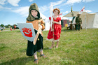 Nathan Chamberlain, 5, and Charlotte Chamberlain, 8, enjoying the Medieval Faire at Tauranga Racecourse. Photo/Andrew Warner