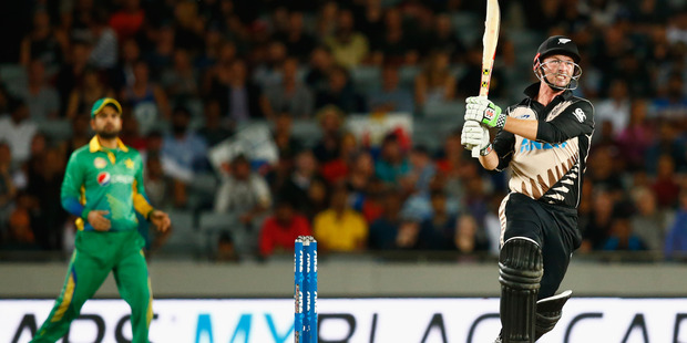 Colin Munro bats during the first T20 match between New Zealand and Pakistan. Photo / Getty