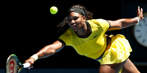 Serena Williams of the United States hits a forehand return to Camila Giorgi of Italy during their first round match at the Australian Open. Photo / AP.