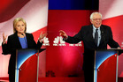 Democratic presidential candidates, Hillary Clinton and Sen. Bernie Sanders, interrupt each other during the NBC, YouTube Democratic presidential debate. Photo / AP