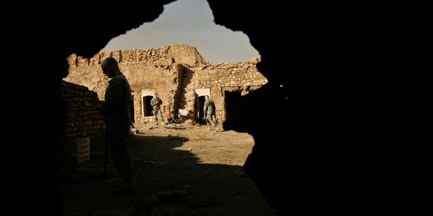 Nov. 7, 2008: U.S. Army soldiers tour St. Elijah's Monastery. Photo / AP