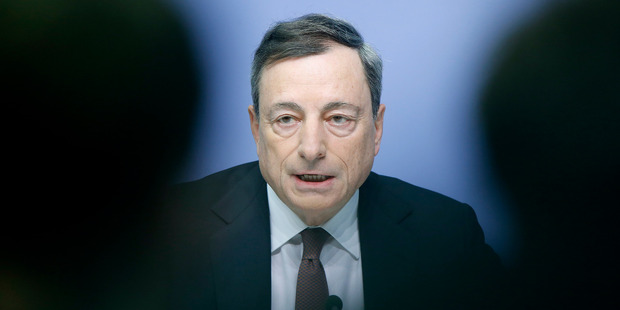 President of the European Central Bank Mario Draghi speaks during a news conference in Frankfurt, Germany. Photo / AP