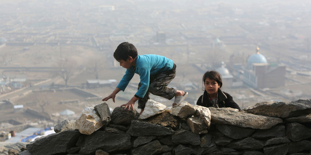 The hills around Kabul trap pollution for days on end. Photo / AP