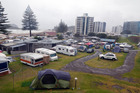 Wet weather at Mount Maunganui campground. Photo / Andrew Warner