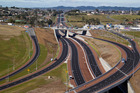 Looking South along the new SH16 Brigham Creek Extension and SH18 Hobsonville Deviation interchange. Photo / NZME.