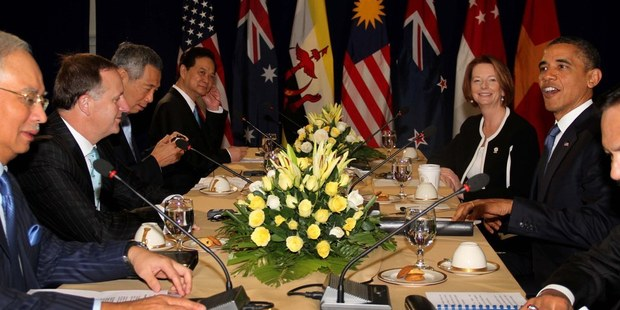 New Zealand Prime Minister John Key with other leaders at a Trans Pacific Partnership leaders meeting. Photo / Alan Gibson
