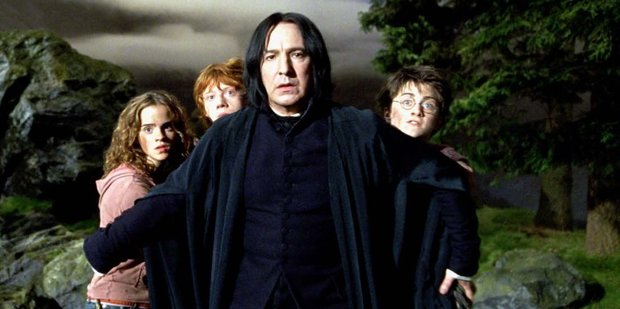 Emma Watson as Hermione Granger, Rupert Grint as Ron Weasley, Alan Rickman as Professor Severus Snape and Daniel Radcliffe as Harry Potter.