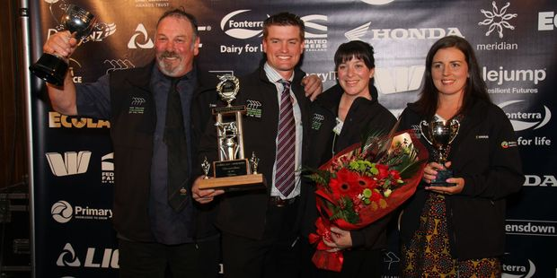 From left, Rowan McGilvary, Farm Manager of the Year; Matt and Tracey Honeysett, Sharemilker/Equity Farmer of the Year, and Grace Stephenson, Dairy Trainee of the Year. PHOTO/SUPPLIED