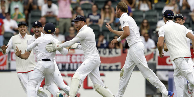 England celebrate another Stuart Broad wicket. Photo / AP