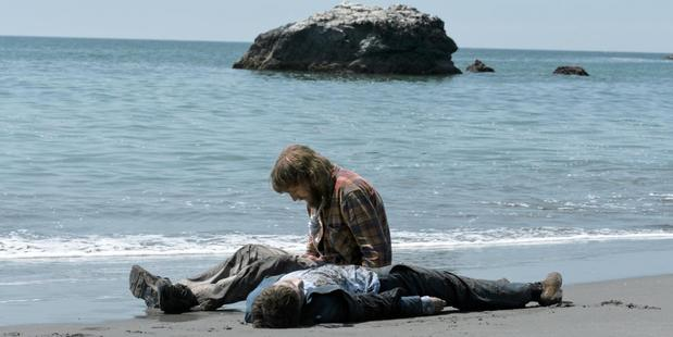 A scene from the movie Swiss Army Man starring Paul Dano and Daniel Radcliffe.