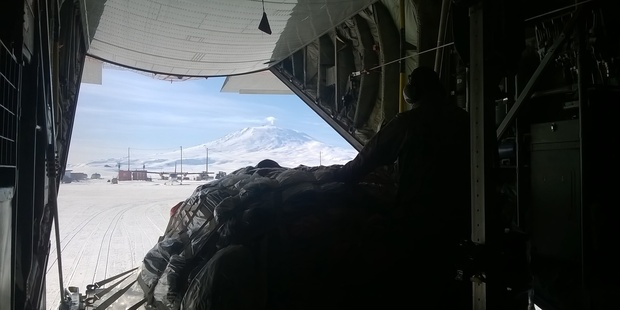 The first glimpse visitors get of Antarctica, as seen from the cargo hold of a US Air Force C-130 Hercules. Photo / Jamie Morton