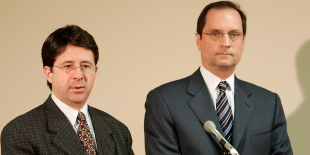 Steven Avery's attorney's Dean Spang, left, and Jerome Buting. Photo / AP