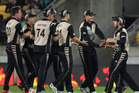 The Black Caps celebrate a wicket during their win over Pakistan in Wellington. Photo / Getty