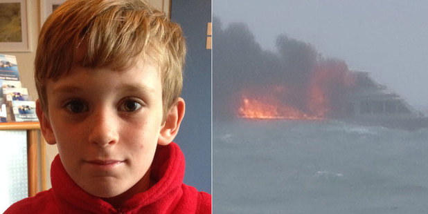 Loading Felix Swane, 8, was the youngest passenger on board a boat which went up in flames on Monday afternoon. Photo / Supplied