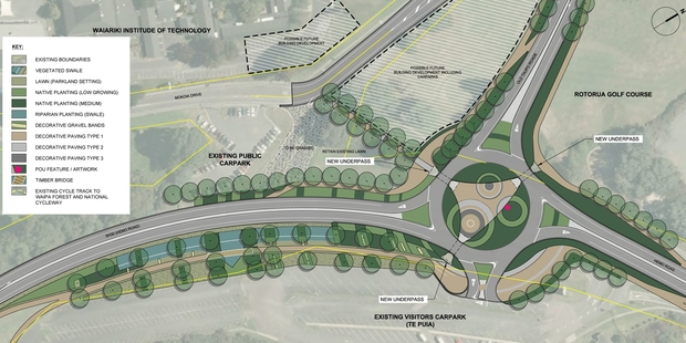 A concept plan for the new roundabout at the State Highway 5/State Highway 30 Hemo Rd intersection south of Rotorua city.