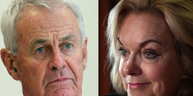 District Court Judge Allan Roberts and Justice Minister Judith Collins. Photo by: John Stone and Doug Sherring