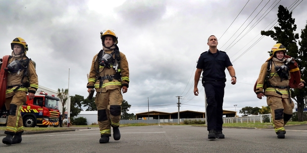 HOME TEAM: Glen Haden (left), Dan Townsend, Myles Hodder and Paul Doughty of the Whanganui Fire Service are gearing up to represent their home town when it hosts the North Island Firefighter Combat Challenge next month.PHOTO/STUART MUNRO