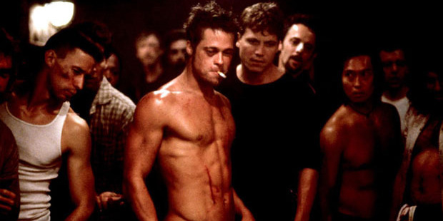 Brad Pitt in the movie Fight Club ... abusive behaviour has been seen at the Dunedin central city library. Photo / 20th Century Fox