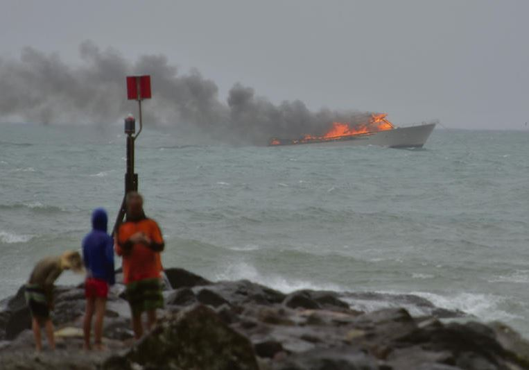 The fire on the boat as seen from Whakatane Heads.