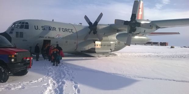 One of the US Air Force LC-130 cargo planes that make regular runs to the ice. Photo / Jamie Morton