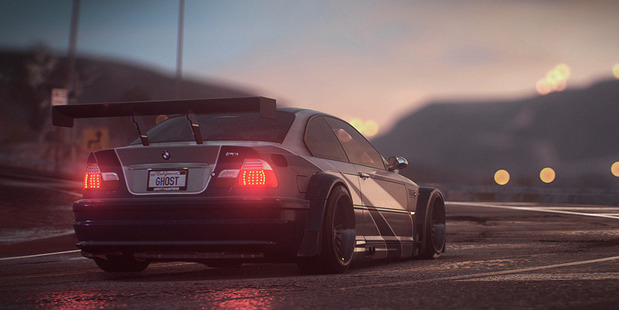 A scene from the video game Need For Speed.