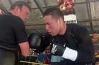 Joseph Parker showcases his new liver punch at training in Apia, Samoa today.