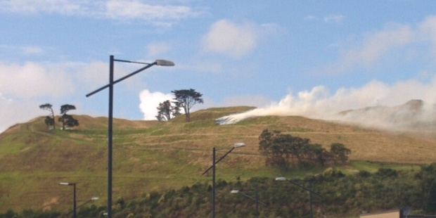 This photo taken from Stonefields development shows smoke billowing across the suburb. Photo / Supplied