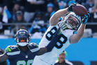 Carolina Panthers tight end Greg Olsen makes a touchdown catch against the Seattle Seahawks. Photo / AP