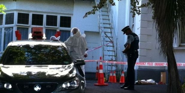 Loading Police at the scene today. Photo / Otago Daily Times