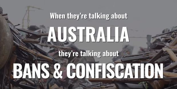 The video, posted to the NRA's official YouTube page, takes aim at Australia's gun laws. Photo / YouTube, NRA