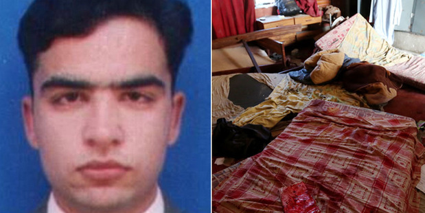 Chemistry lecturer Syed Hamid Husain's bravery allowed his students to flee Taliban militants. Right, one of dormitories where the attackers opened fire. Photos / Supplied / Getty Images