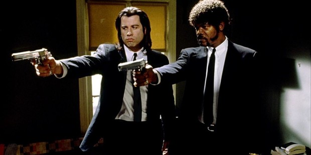 John Travolta and Samuel L. Jackson star in Quentin Tarantino's Pulp Fiction.