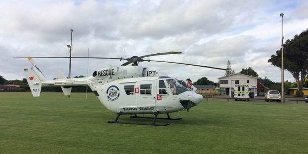 The girl was stabilised and flown to hospital. Photo / Supplied by Palmerston North Rescue Helicopter