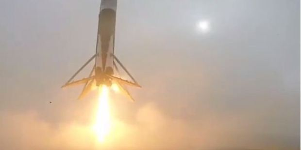 Loading Elon Musk has shared video footage of the Falcon 9 landing. Photo / Instagram