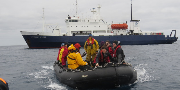 Zodiac passengers from the Spirit of Enderby looking for adventure at the Snares Islands. Photo / Paul Charman