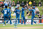 Sri Lankan players celebrate a wicket during their recent tour of New Zealand. Photo / Getty