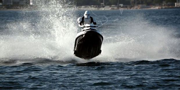 A stormtrooper on a jetski makes for an offbeat addition to the Good Life video
