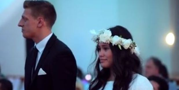 The bride was brought to tears by the haka. Photo / Facebook