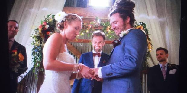 A photo taken of Brett Morrison's camera's display screen of Katie and Michael Julian's wedding before the camera and its memory card were stolen. PHOTO/BRETT MORRISON