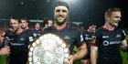 Canterbury captain Luke Whitelock celebrates with the Ranfurly Shield last night following their win over Waikato. Photo / Photosport