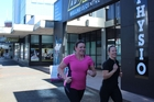 Hamilton News editor Danielle Nicholson and Advance Wellness personal trainer Lynsey Graham in training for this weekend's Hamilton Half Marathon 5km event.