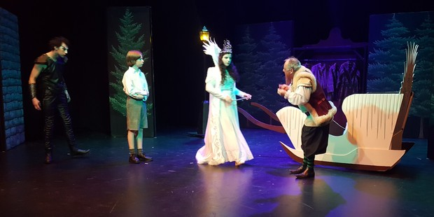 A scene from The Lion, the Witch and the Wardrobe. Pictured left to right are Jono Freebairn as Maugrim, Lochlan Scanlon as Edmumd, Missy Mooney as the White Witch and Arno Minnema as the Dwarf.