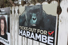Ticks out for Harambe election hoaring on Queens Drive Invercargill. Photo / Southland Express