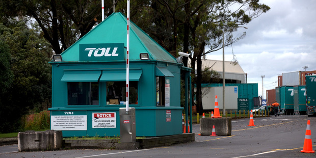 The scene at Toll New Zealand in Onehunga after a man was killed when three pallets fell on him. Photo / Dean Purcell